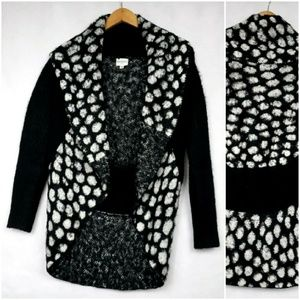 Sioni Black Polka Dot Open Cardigan Sweater PS